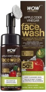 WOW Skin Science Apple Cider Vinegar Foaming Face Wash with Foaming Silicone Cleanser Brush
